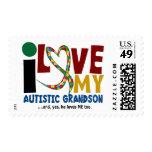 AUTISM I Love My Autistic Grandson 2 Postage Stamps