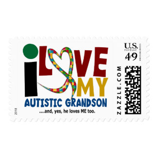 AUTISM I Love My Autistic Grandson 2 Postage Stamps