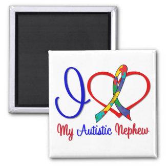 Autism I Love My Autistic Nephew 2 Inch Square Magnet