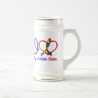 Autism I Love My Autistic Sister 18 Oz Beer Stein
