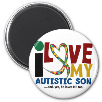 AUTISM I Love My Autistic Son 2 2 Inch Round Magnet