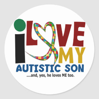 AUTISM I Love My Autistic Son 2 Classic Round Sticker