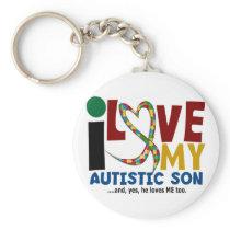 AUTISM I Love My Autistic Son 2 Keychain