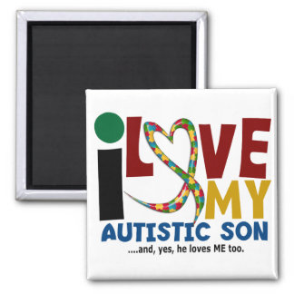 AUTISM I Love My Autistic Son 2 Refrigerator Magnet