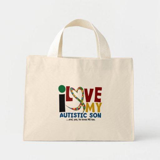 AUTISM I Love My Autistic Son 2 Mini Tote Bag