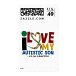 AUTISM I Love My Autistic Son 2 Postage Stamps