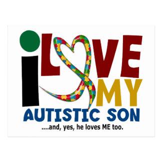 AUTISM I Love My Autistic Son 2 Postcard