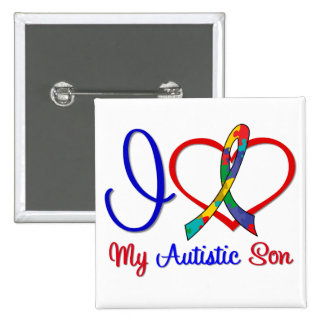 Autism I Love My Autistic Son Pinback Button