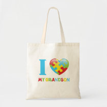 Autism I Love My Grandson Tote Bag