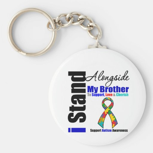Autism I Stand Alongside My Brother Basic Round Button Keychain