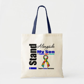 Autism I Stand Alongside My Son Tote Bags