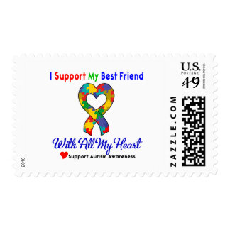 Autism: I Support My Best Friend With All My Heart Postage Stamp