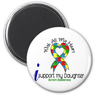 Autism I Support My Daughter 2 Inch Round Magnet