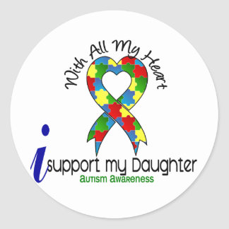 Autism I Support My Daughter Classic Round Sticker