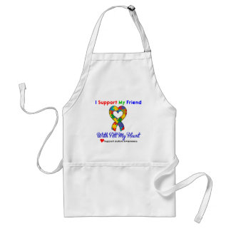 Autism: I Support My Friend With All My Heart Adult Apron