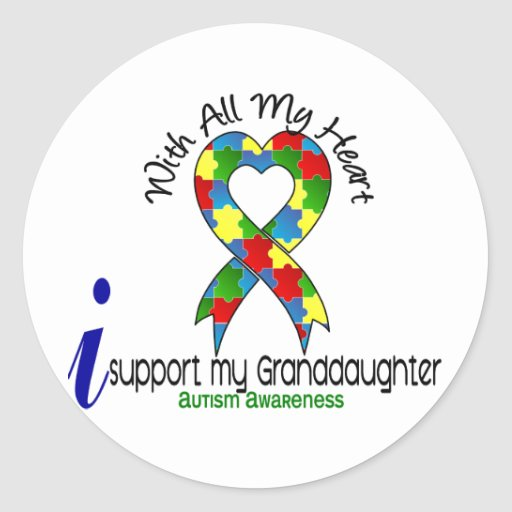 Autism I Support My Granddaughter Round Stickers