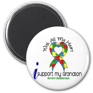 Autism I Support My Grandson 2 Inch Round Magnet