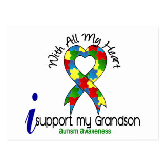 Autism I Support My Grandson Postcard