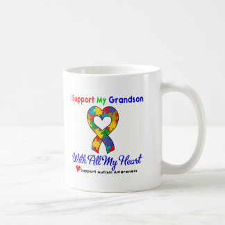 Autism: I Support My Grandson With All My Heart Coffee Mug