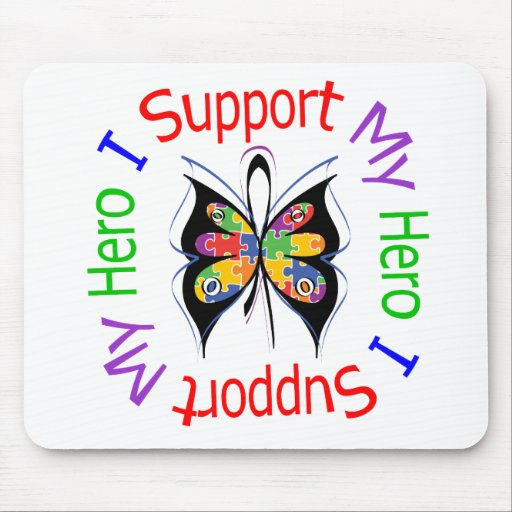 Autism I Support My Hero Mouse Mats