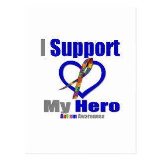 Autism I Support My Hero Postcard