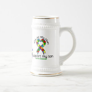 Autism I Support My Son 18 Oz Beer Stein