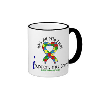 Autism I Support My Sons Ringer Coffee Mug