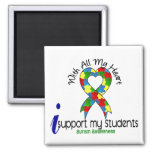 Autism I Support My Students 2 Inch Square Magnet