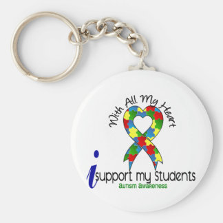 Autism I Support My Students Basic Round Button Keychain