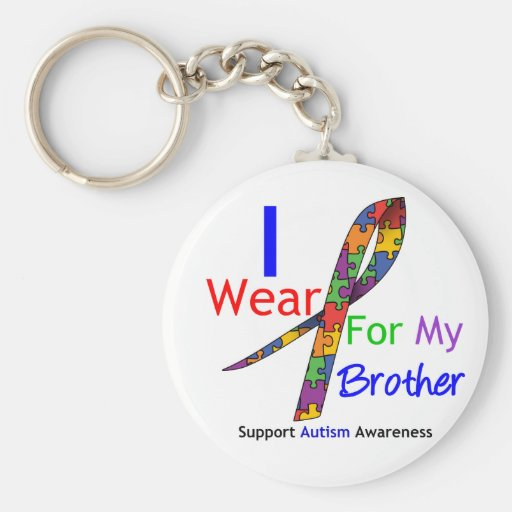 Autism I Wear Puzzle Ribbon For My Brother Basic Round Button Keychain
