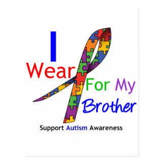 Autism I Wear Puzzle Ribbon For My Brother Post Card