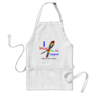 Autism I Wear Puzzle Ribbon For My Daughter Adult Apron