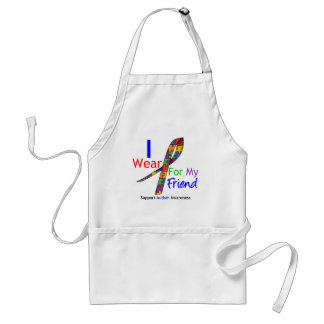 Autism I Wear Puzzle Ribbon For My Friend Adult Apron