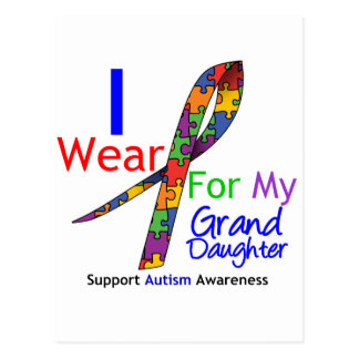 Autism I Wear Puzzle Ribbon For My Granddaughter Postcards