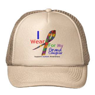 Autism I Wear Puzzle Ribbon For My Granddaughter Trucker Hat