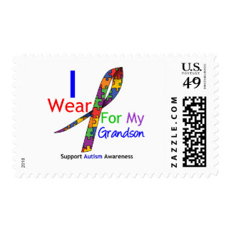 Autism I Wear Puzzle Ribbon For My Grandson Postage Stamps