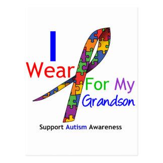 Autism I Wear Puzzle Ribbon For My Grandson Postcard