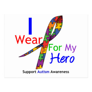 Autism I Wear Puzzle Ribbon For My Hero Post Card