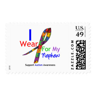 Autism I Wear Puzzle Ribbon For My Nephew Postage