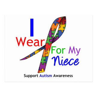 Autism I Wear Puzzle Ribbon For My Niece Postcard