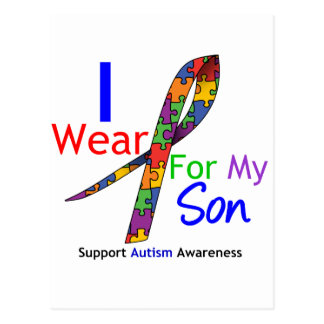 Autism I Wear Puzzle Ribbon For My Son Postcard