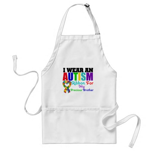 Autism I Wear Ribbon For My Precious Brother Adult Apron