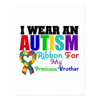 Autism I Wear Ribbon For My Precious Brother Postcard