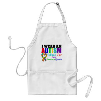 Autism I Wear Ribbon For My Precious Cousin Adult Apron