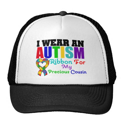 Autism I Wear Ribbon For My Precious Cousin Trucker Hat