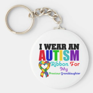 Autism I Wear Ribbon For My Precious Granddaughter Basic Round Button Keychain