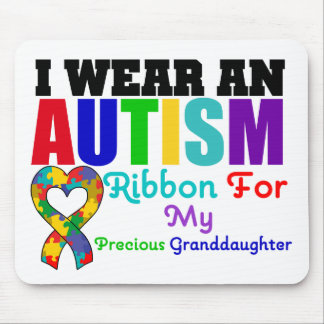 Autism I Wear Ribbon For My Precious Granddaughter Mouse Pad