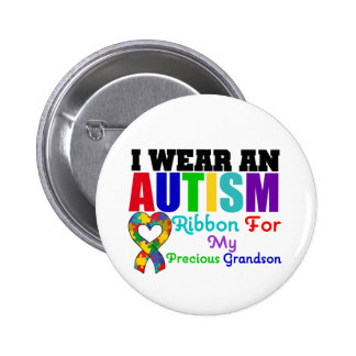 Autism I Wear Ribbon For My Precious Grandson 2 Inch Round Button