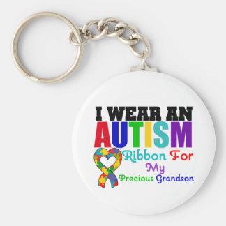 Autism I Wear Ribbon For My Precious Grandson Basic Round Button Keychain