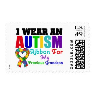 Autism I Wear Ribbon For My Precious Grandson Postage